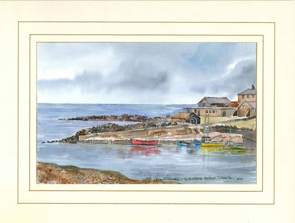 Portballintrae Harbour, Co Antrim, N Ireland, Original Watercolour Painting by Martin Goode