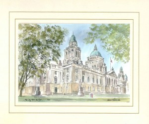 City Hall, Belfast, Original Watercolour Painting by Martin Goode