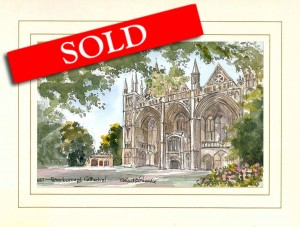 Peterborough Cathedral, Original Watercolour Painting by Martin Goode