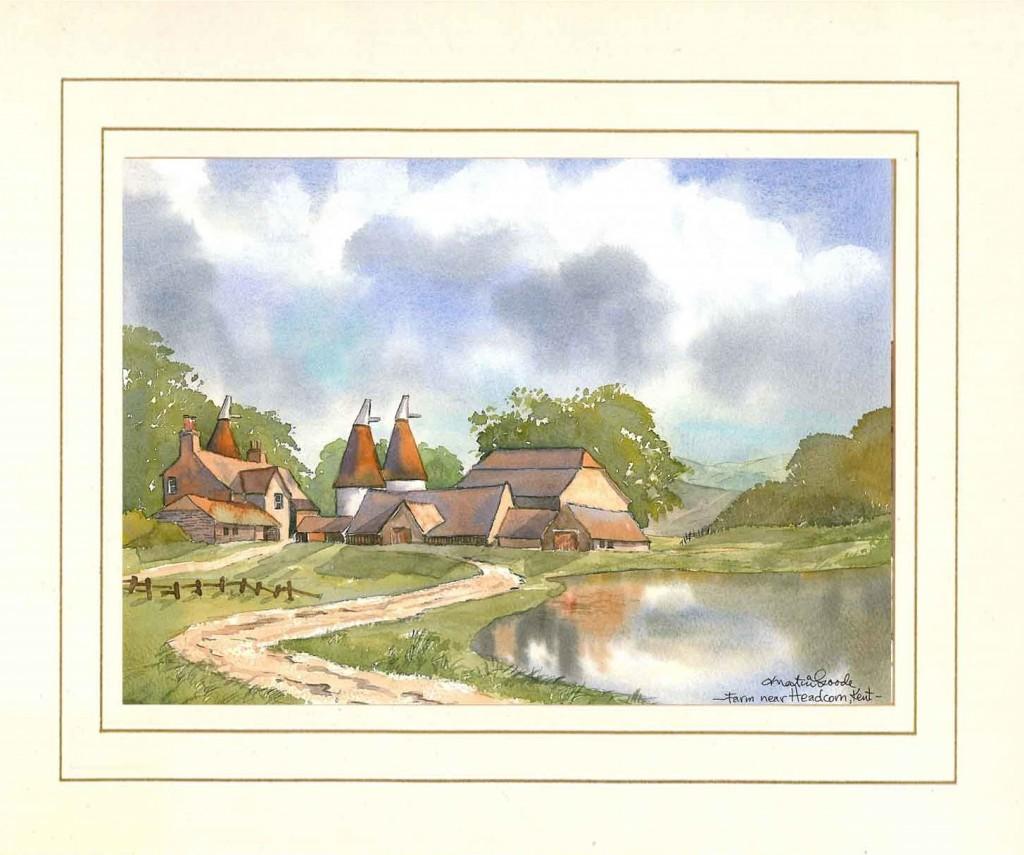 Headcorn Farm, Original Watercolour Painting by Martin Goode