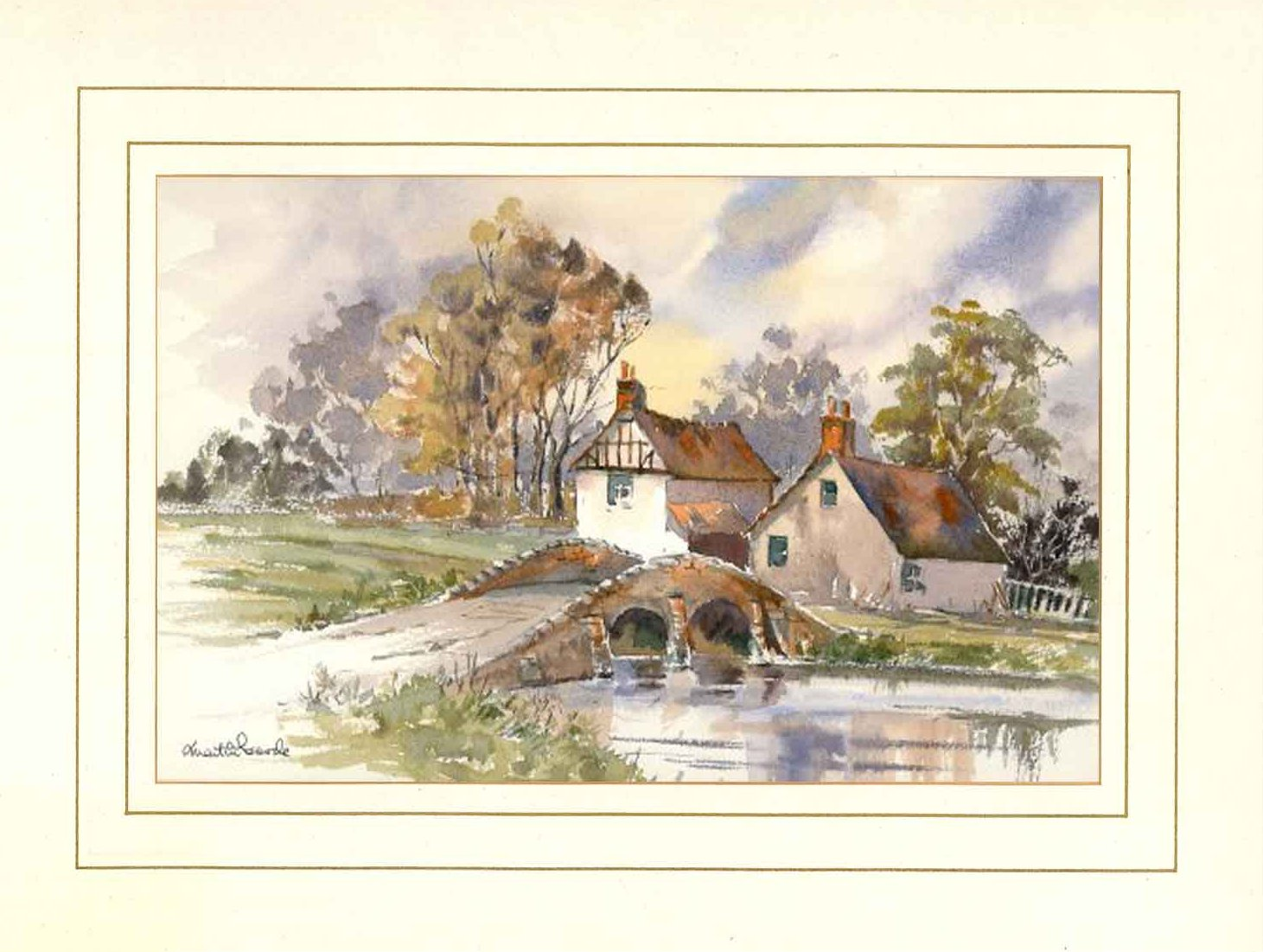 Packhorse Bridge, Original Watercolour Painting by Martin Goode