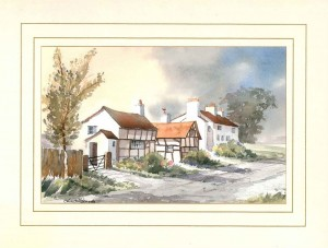 Timbered Cottage, Original Watercolour Painting by Martin Goode
