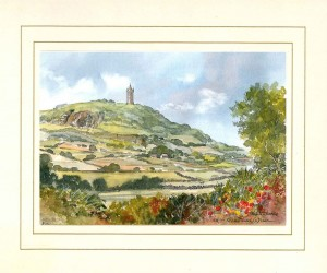 Scrabo Tower, Original Watercolour Painting by Martin Goode