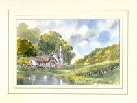 Selworthy Thatch, Devon, Original Watercolour Painting by Martin Goode